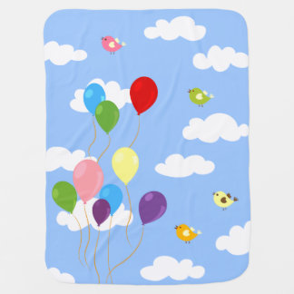 Colorful Balloons in the Sky Baby Blanket