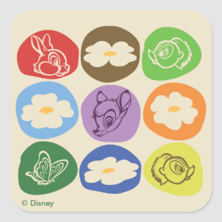 Colorful Bambi, Flower, & Thumper Square Sticker
