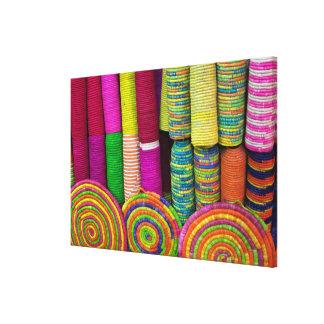 Colorful Baskets At Market Canvas Print
