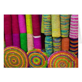 Colorful Baskets At Market Card
