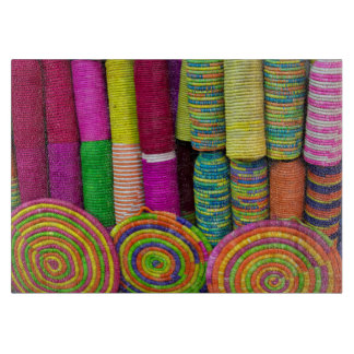 Colorful Baskets At Market Cutting Board