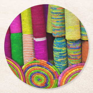 Colorful Baskets At Market Round Paper Coaster
