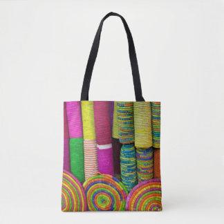 Colorful Baskets At Market Tote Bag