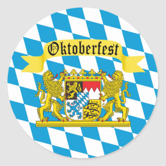 Colorful Bavarian Flag Oktoberfest Classic Round Sticker