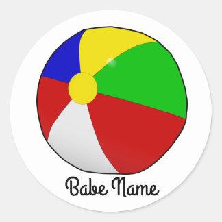 Colorful beach ball classic round sticker