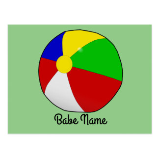 Colorful beach ball postcard