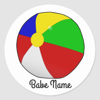 Colorful beach ball round sticker