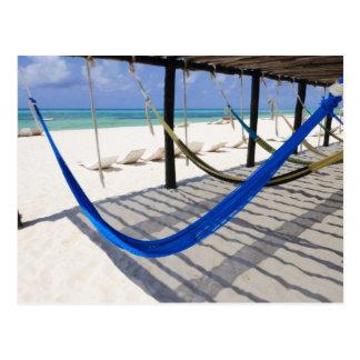 Colorful Beach Hammocks Cozumel Mexico Postcard