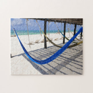 Colorful Beach Hammocks Cozumel Mexico Puzzle