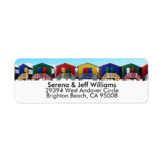 Colorful Beach House Huts Return Address Label