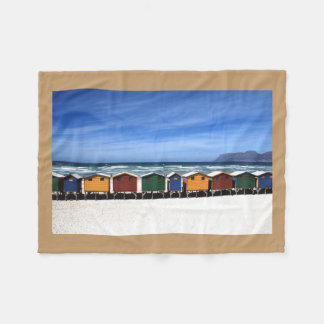 Colorful Beach Huts by the Sea Fleece Blanket