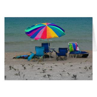 colorful beach umbrella chairs Florida scene Card