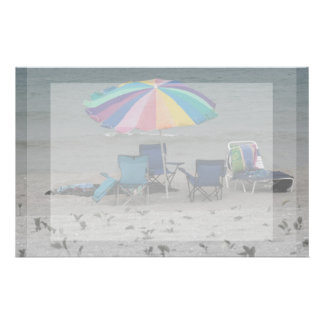 colorful beach umbrella dusty vintage style chair personalized stationery