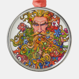Colorful Beard Guy Silver-Colored Round Decoration