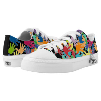 Colorful beautiful cartoon hands all over low tops