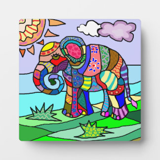 Colorful beautiful folcloristic artistic elephant photo plaque