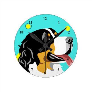 Colorful Bernese Mountain Dog Clocks
