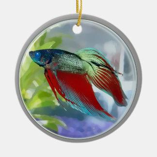 Colorful Betta Fish in a Bubble Ceramic Ornament