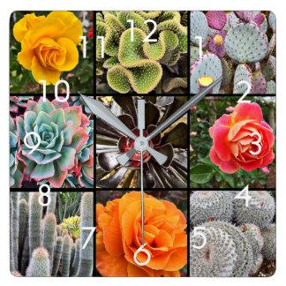 Colorful, big cacti & roses photo grid wall clock