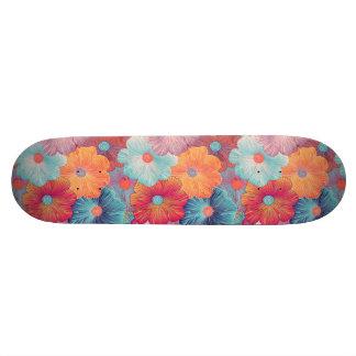 Colorful big flowers artistic floral background 21.6 cm skateboard deck