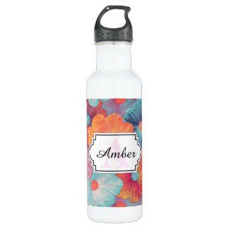Colorful big flowers artistic floral background 710 ml water bottle