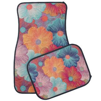 Colorful big flowers artistic floral background car mat