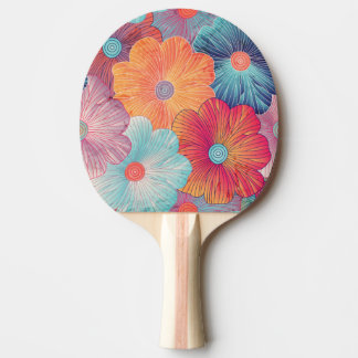 Colorful big flowers artistic floral background ping pong paddle