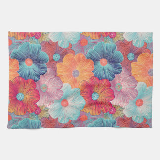 Colorful big flowers artistic floral background tea towel