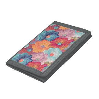 Colorful big flowers artistic floral background tri-fold wallet