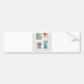 Colorful bird stamps design bumper sticker