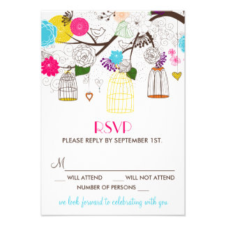 Colorful Birdcages and Flowers Wedding RSVP Card