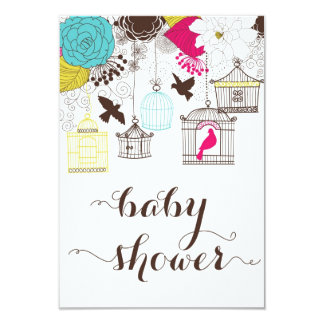 Colorful Birdcages Baby Shower Gift Registry Card