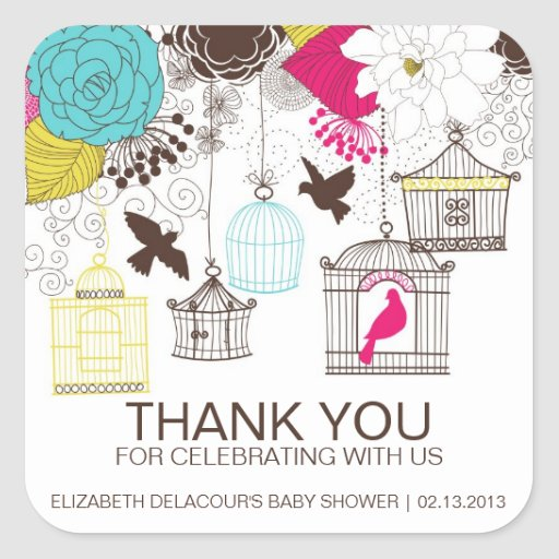 Colorful Birdcages Baby Shower Thank You Sticker