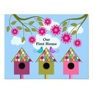 Colorful Birdhouses and Birds Housewarming Party 11 Cm X 14 Cm Invitation Card