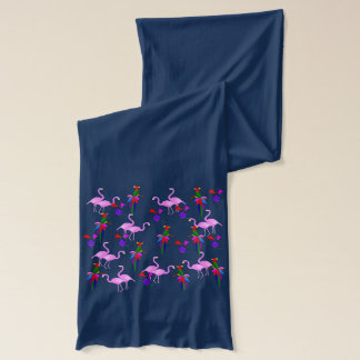 Colorful Birds and Pink Flamingos Scarf