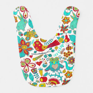 Colorful Birds Flowers And Bunny Rabbits Baby Bibs
