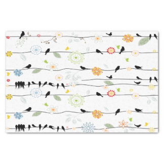 Colorful_birds on a Wire Tissue Paper