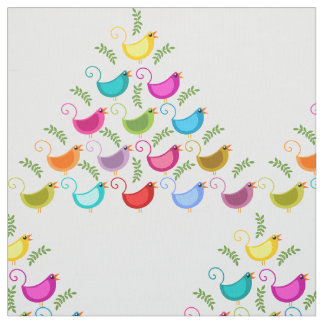 Colorful Birds Pattern Fabric