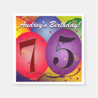 Colorful Birthday Balloons for 75th birthday! Paper Napkin