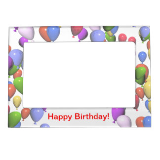Colorful Birthday Balloons Photo Frame Magnet