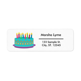 Colorful Birthday Cake Return Address Label