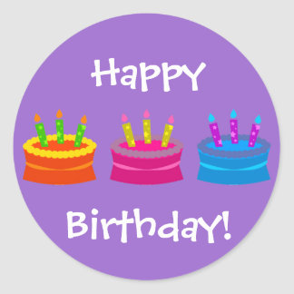 Colorful Birthday Cakes Classic Round Sticker