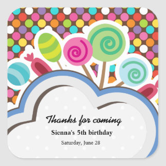 Colorful Birthday Square Sticker