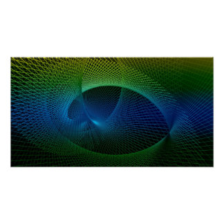 Colorful Black Green Blue Fractal Spiral Vortex Poster