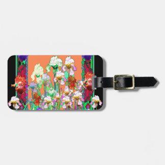 Colorful Black Iris Garden Art design by sharles Luggage Tag