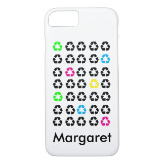 Colorful Black Recycle Symbols Personalize iPhone 8/7 Case
