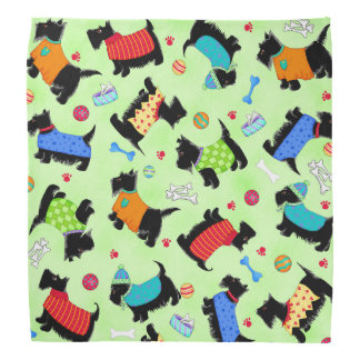 Colorful Black Scottie Dogs Wearing Clothes Green Bandana