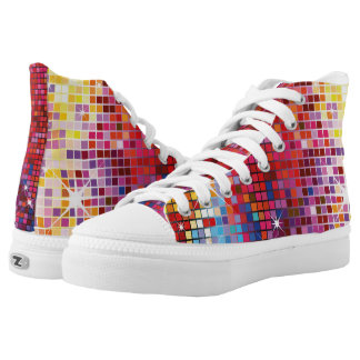 Colorful Bling-High Top Shoes Printed Shoes