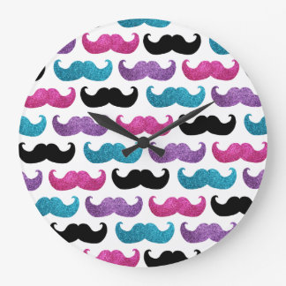 Colorful bling mustache pattern (Faux glitter) Large Clock