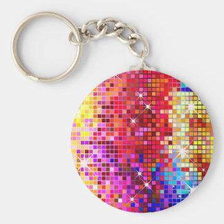 Colorful Bling Pattern Basic Round Button Key Ring